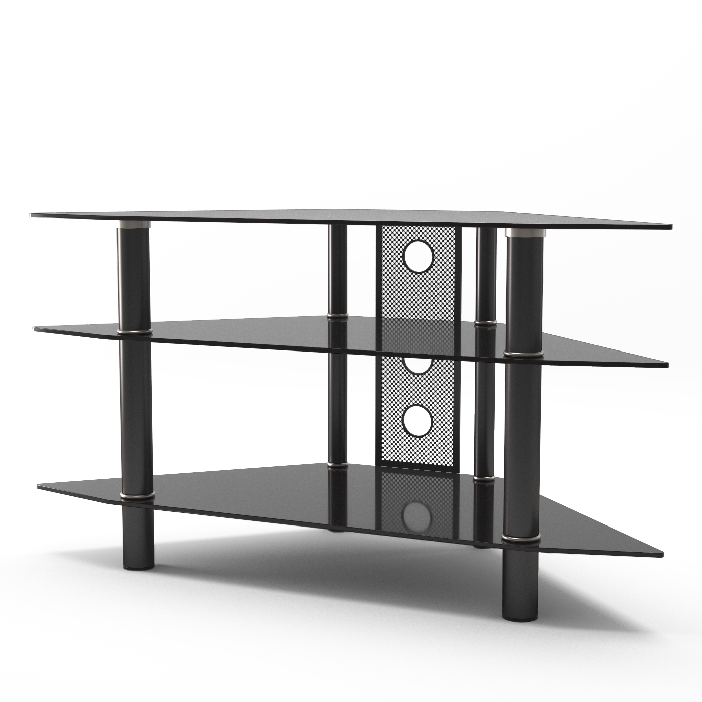 Ruby 44 Inch Corner Glass TV Stand in Black