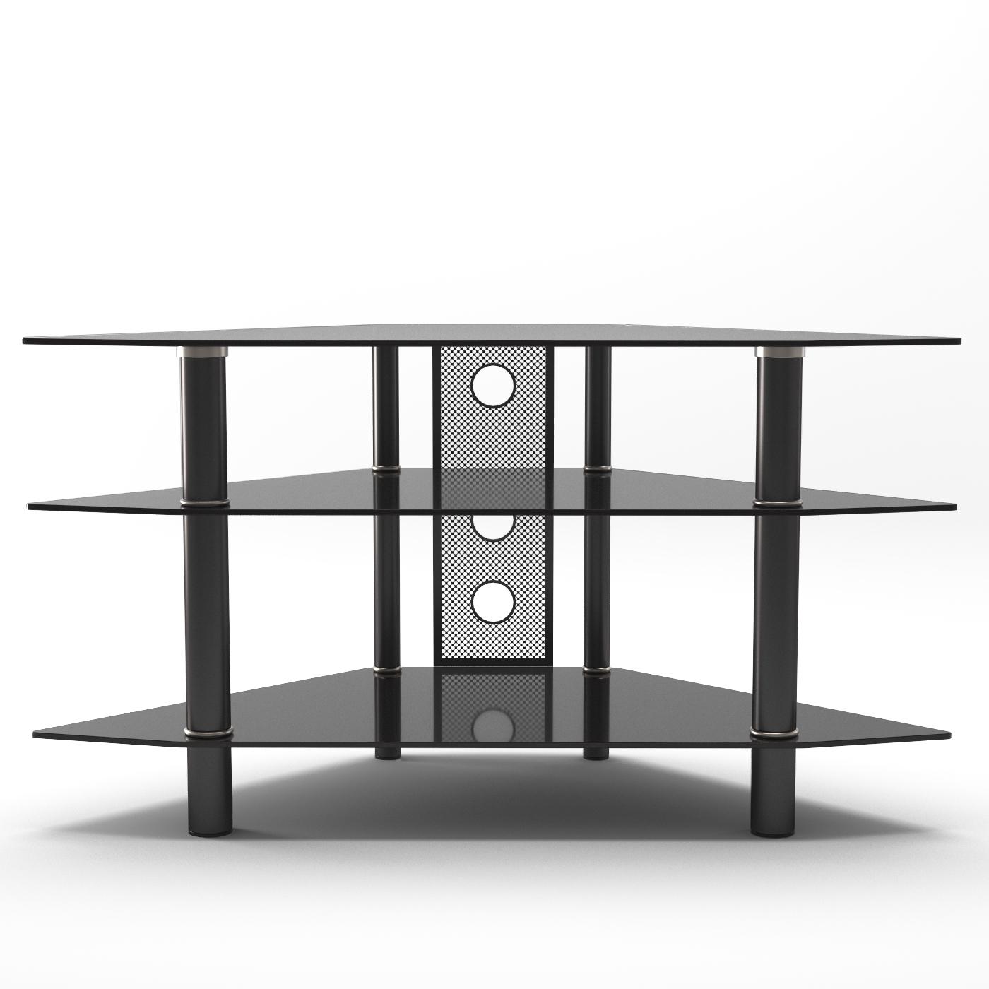 Ruby 44 Inch Corner Glass Tv Stand In Black