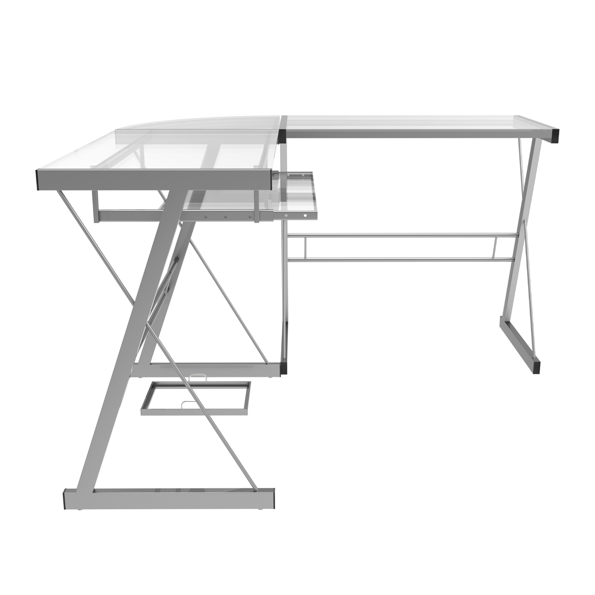Madison L Shaped Computer Desk In Silver