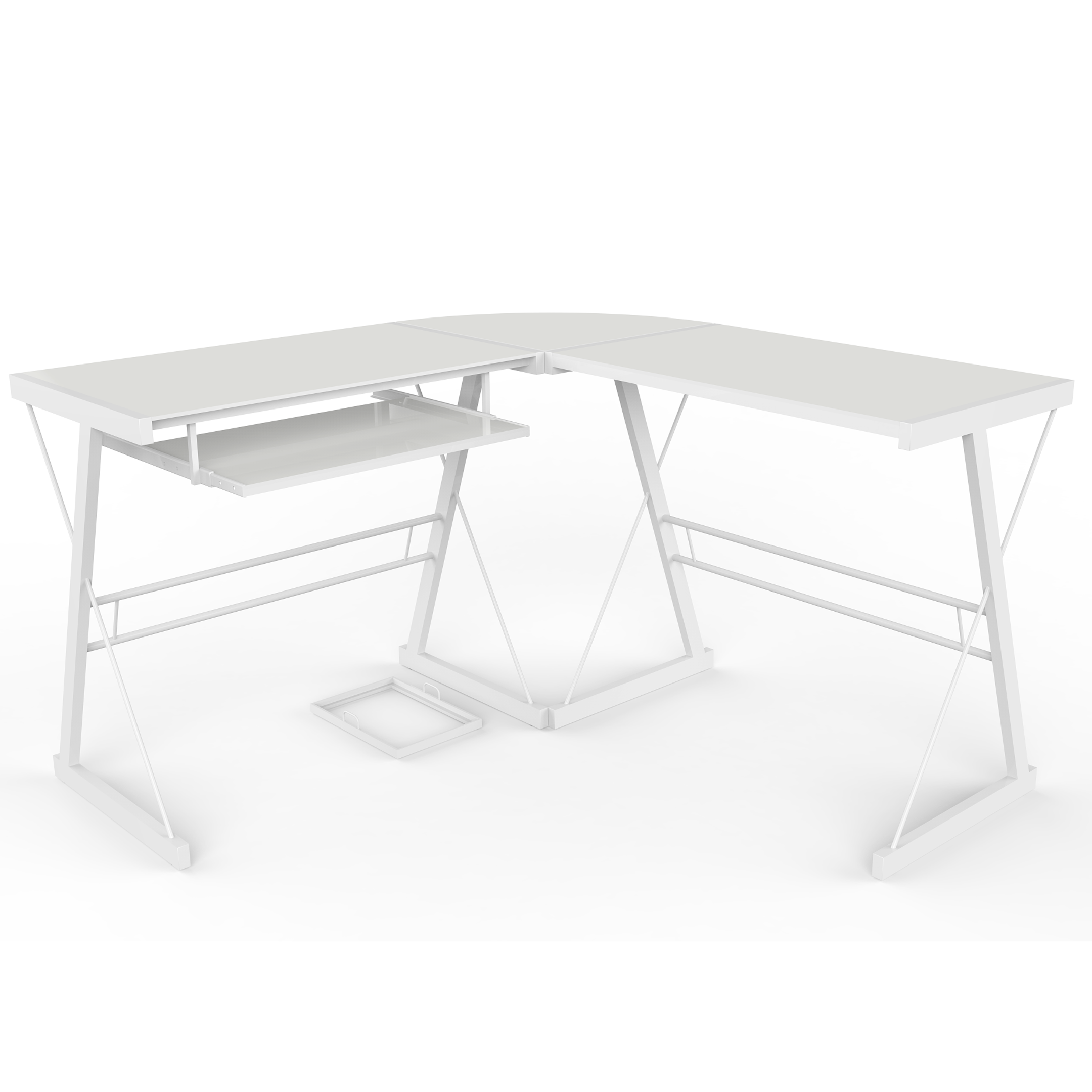 Madison L-Shaped Computer Desk in White