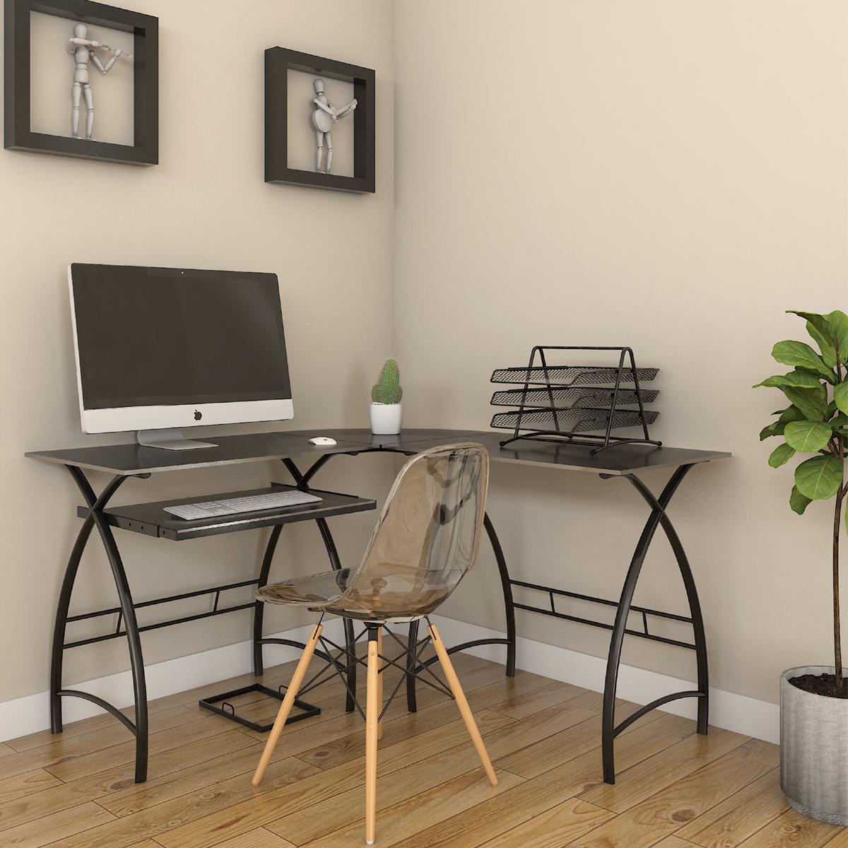 glass graphite mobili in computer desks shaped p l desk rta techni