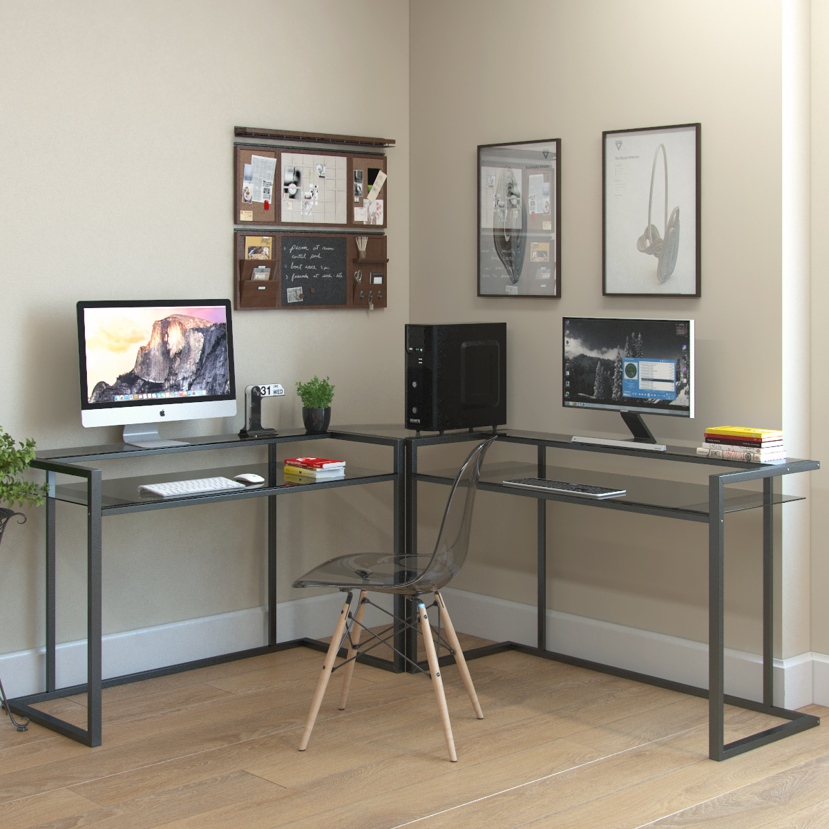 furniture computer l altra raw glass magnifier desks shaped desk