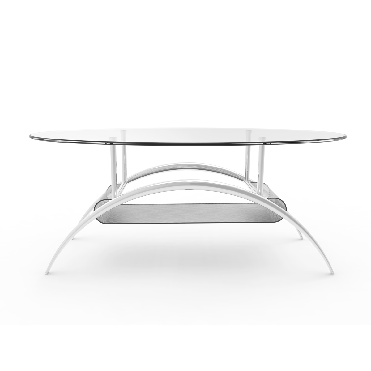 Cleveland 38 Inch Glass Coffee Table With Black Mesh