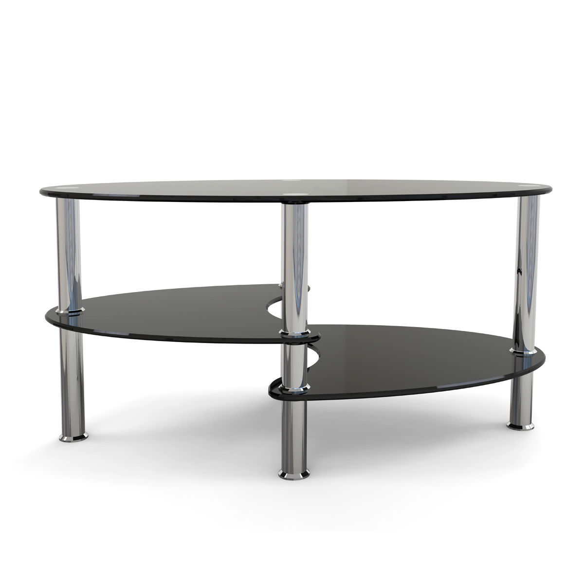 Elm Inch Oval Two Tier Black Glass Coffee Table - Two level coffee table
