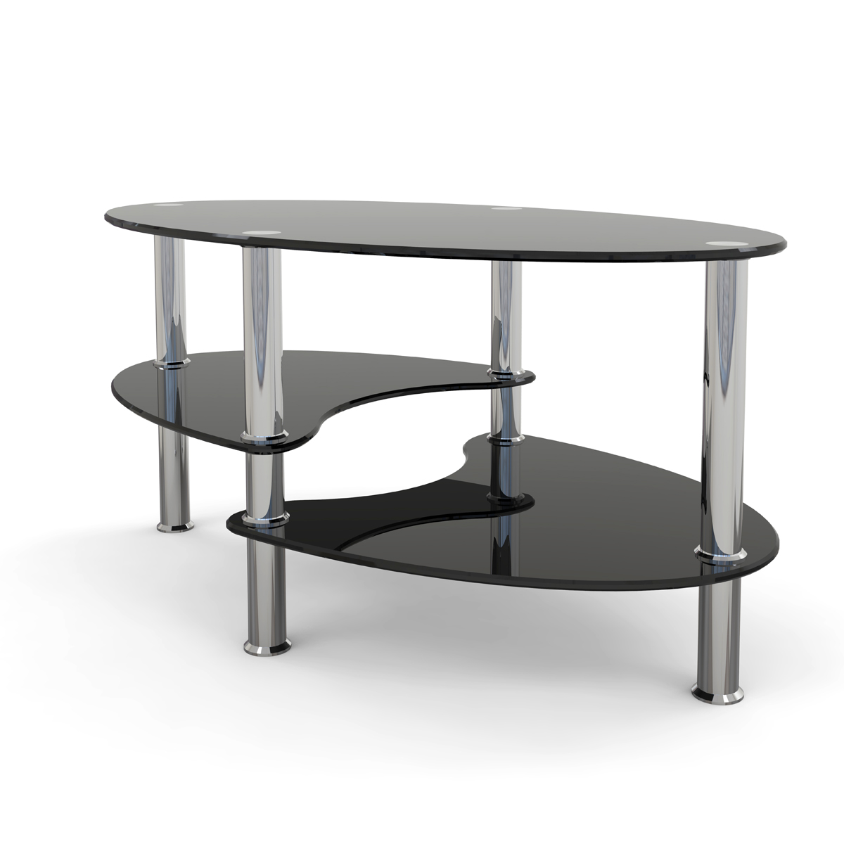 Elm 38 Inch Oval Two Tier Black Glass Coffee Table