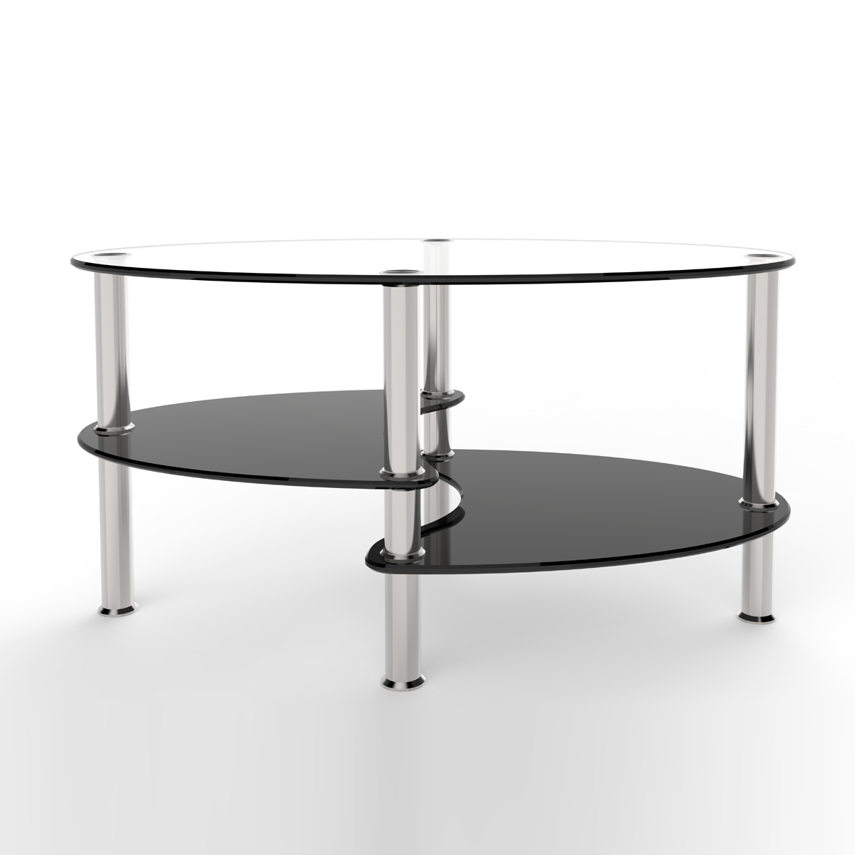 Orion 38 inch oval two tier clear and black glass coffee table for 2 level glass coffee table
