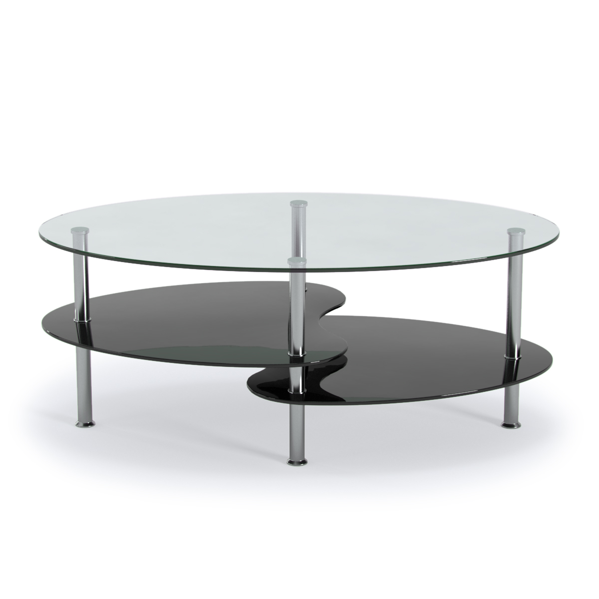 Orion 38 Inch Oval Two Tier Clear And Black Glass Coffee Table