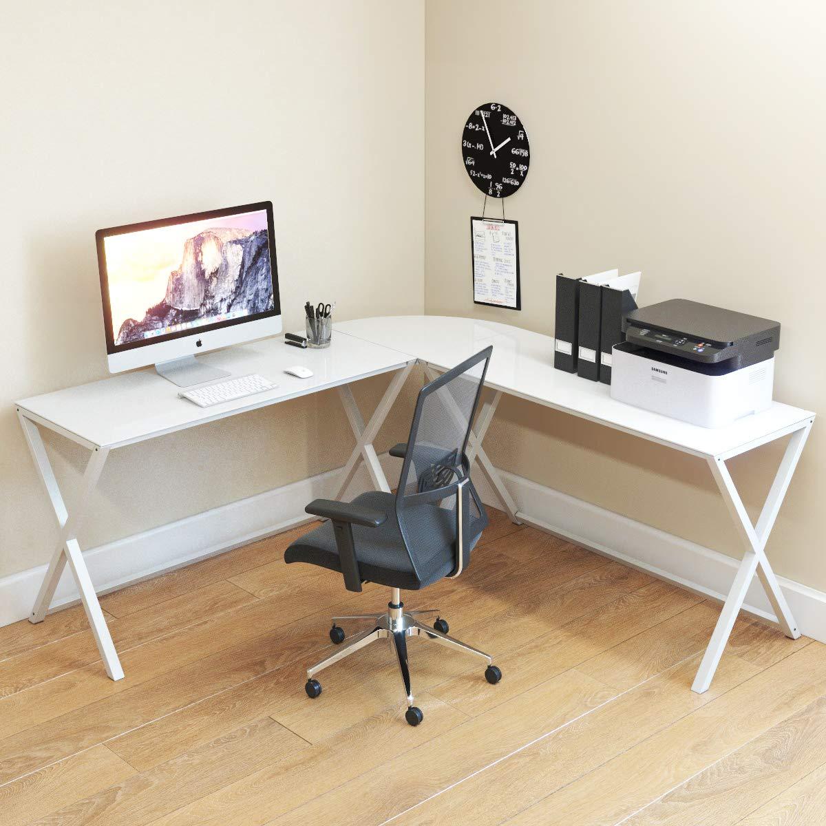 Keeling X Frame Computer Desk White Frame and White Glass
