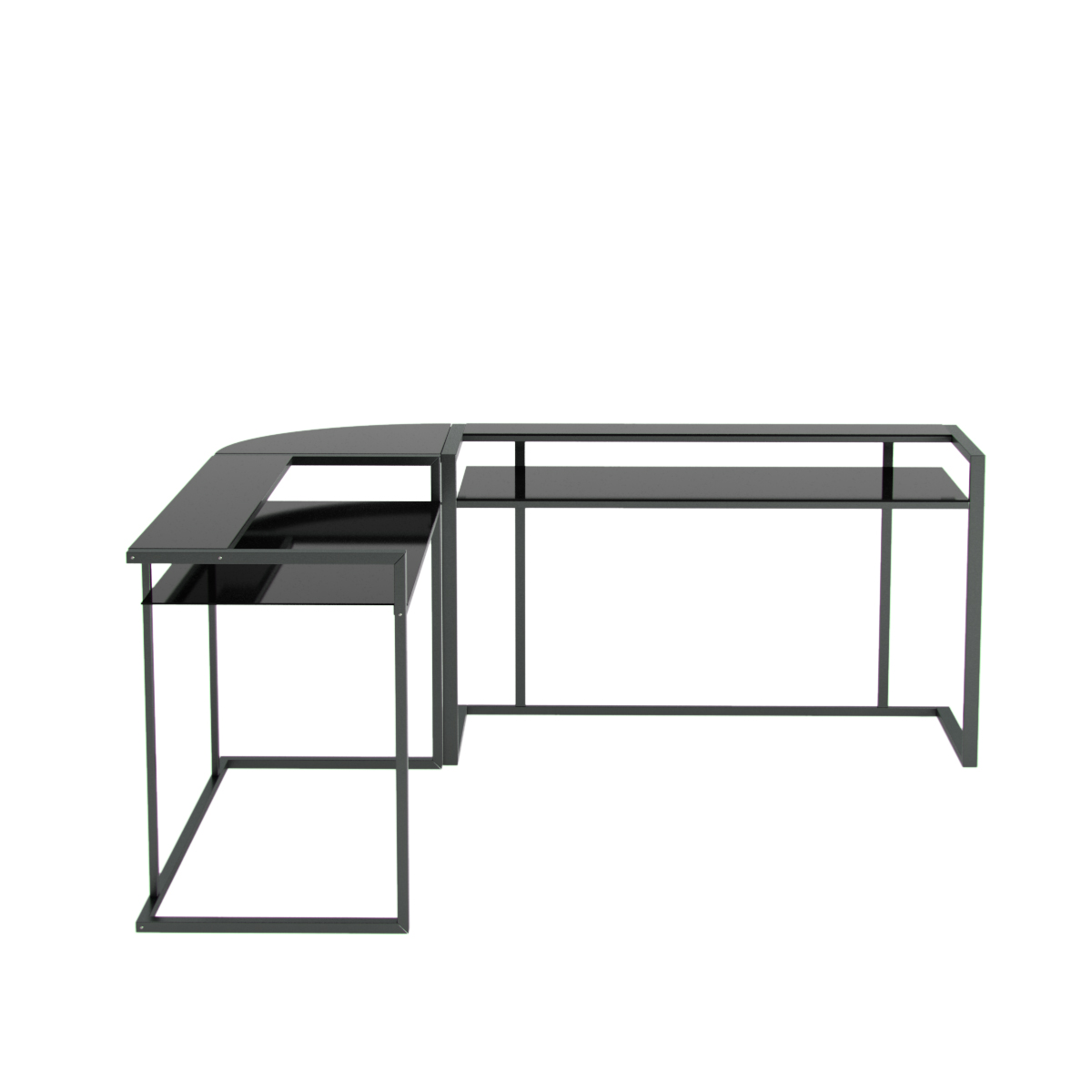 Belmac 3 Piece Corner C Frame L Shaped Computer Desk In Black Glass And Black Frame