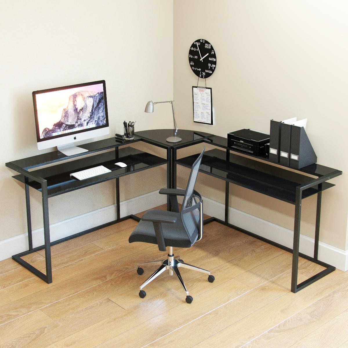 Belmac 50-Piece Corner C Frame L Shaped Computer Desk in Black Glass and  Black Frame