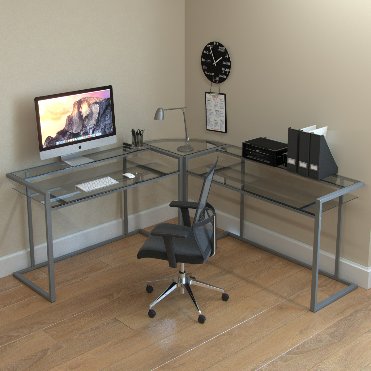 - Belmac 3-Piece Corner C Frame L Shaped Computer Desk In Clear