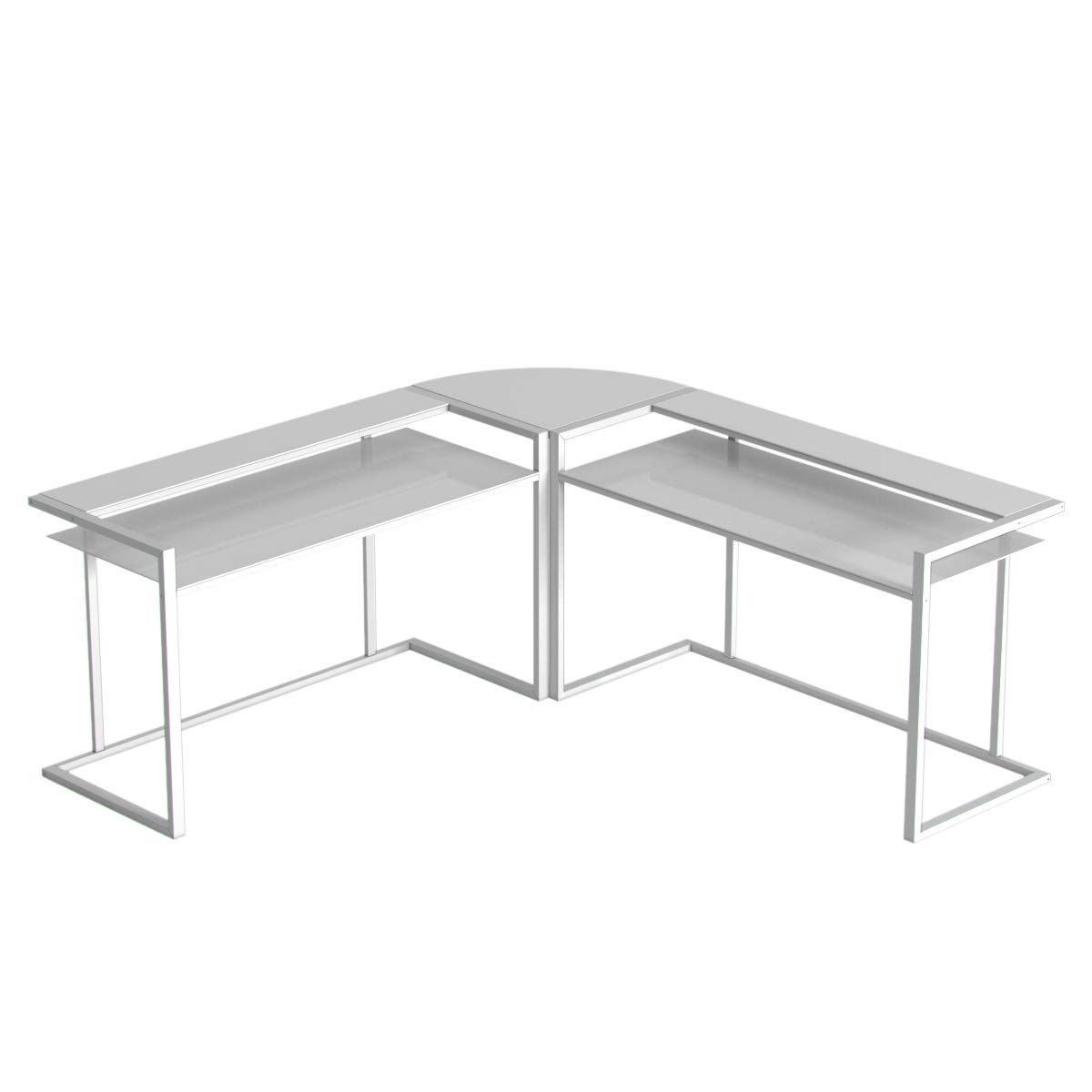 Belmac 3 Piece Corner C Frame L Shaped Computer Desk In White Glass And White Frame