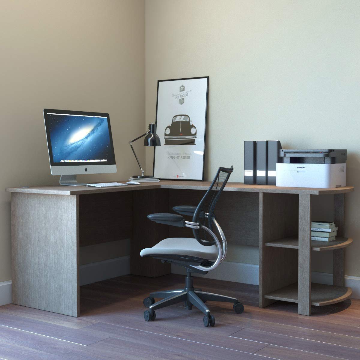 Kristen Corner L-Shaped Computer Desk in Salt Oak