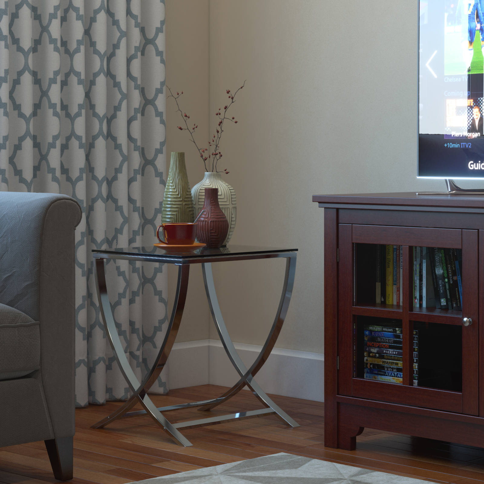 vivien glass small accent end side table living room