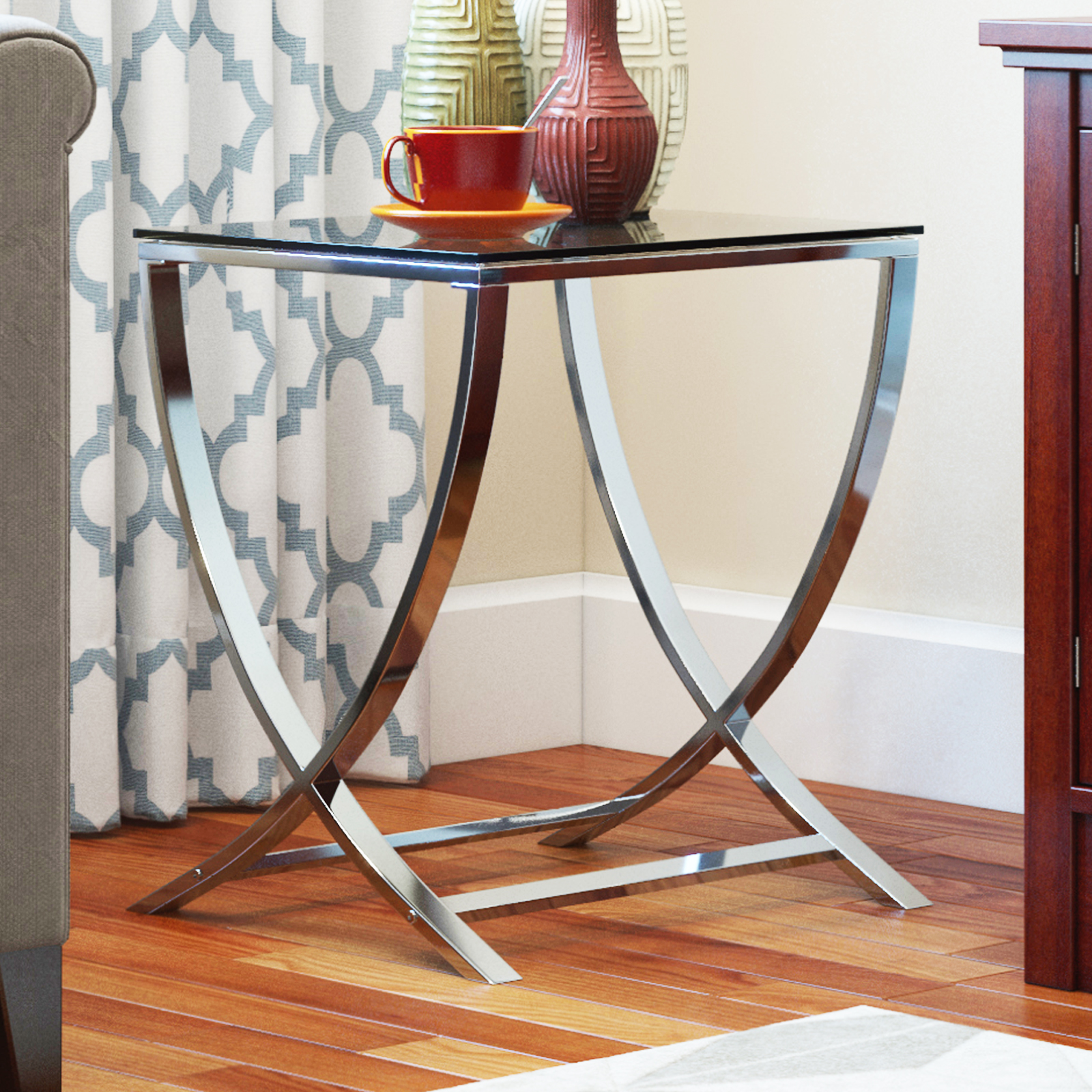 Vivien Gl Small Accent End Side Table Living Room Coffee Sofa Nightstand Chrome Finish