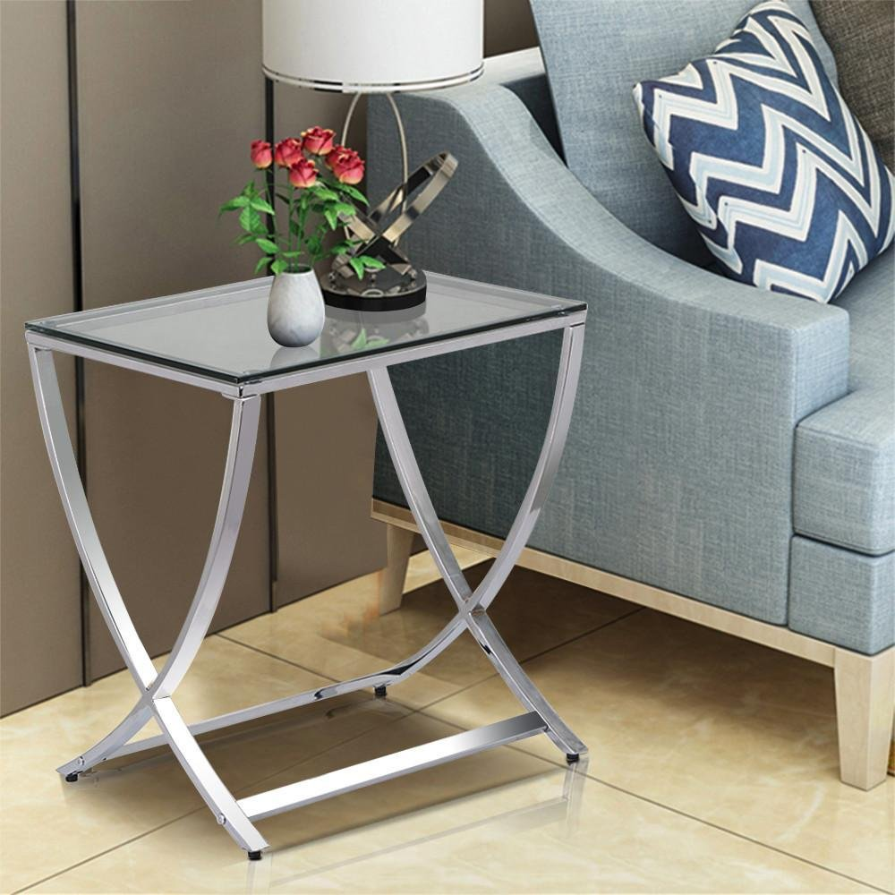 Vivien Glass Small Accent End Side Table Living Room ...
