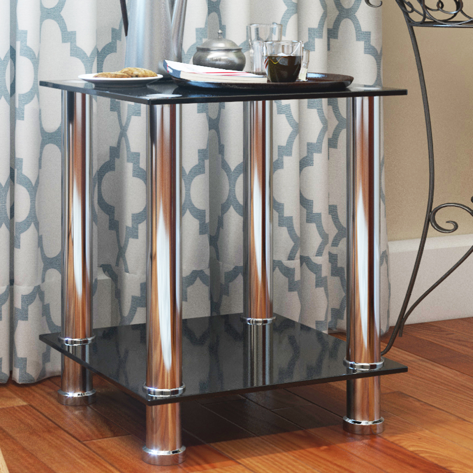 Surprising Audrey End Table Sofa Table Night Table With Tempered Glass Shelves Chrome Frame Black Glass Bralicious Painted Fabric Chair Ideas Braliciousco