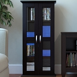 Kirkwell 41 Inch Wood DVD Media Storage Tower in Black
