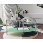 Becca 38 Inch Oval Two Tier Glass Coffee Table