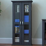 Kirkwell 41 Inch Wood DVD Media Storage Tower in Charcoal