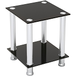 Audrey End Table Sofa Table Night Table with Tempered Glass Shelves - Chrome Frame/Black Glass