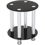 Aster Round End Table Sofa Table Night Table with Tempered Glass Shelves - Chrome Frame/Black Glass