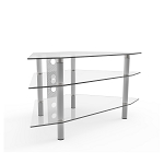 Ruby 44 Inch Corner Glass TV Stand Silver and Clear Glass with Cable Management
