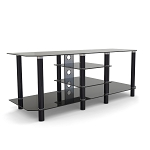 Salerno 60 Inch Glass and Metal TV Stand in Black with Cable Management