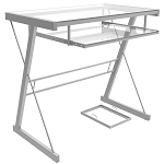 Becker Metal and Glass Computer Desk in Silver