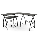 Stillman 3-Piece Corner L-Shaped Computer Desk in Black