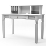 Region Wood Writers Desk with Hutch in White