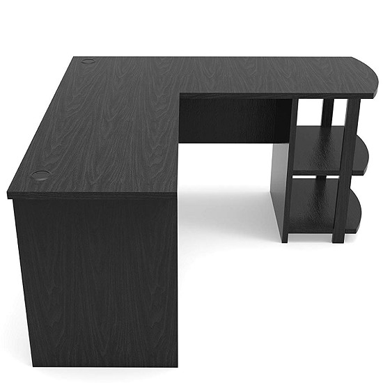 Corner L-Shaped Computer Desk in Black