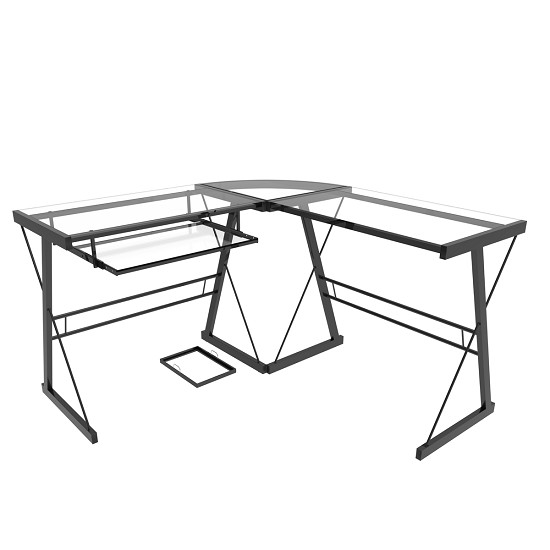 Madison L-Shaped Computer Desk in Black and Clear Glass