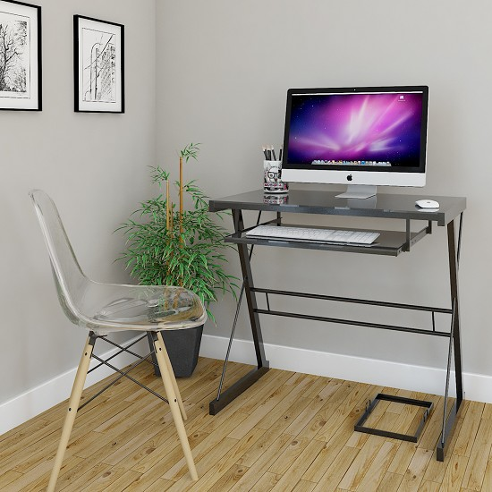 Becker Metal and Glass Computer Desk in Black