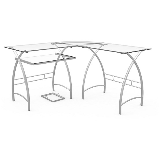 Stillman 3-Piece Corner L-Shaped Computer Desk in Silver