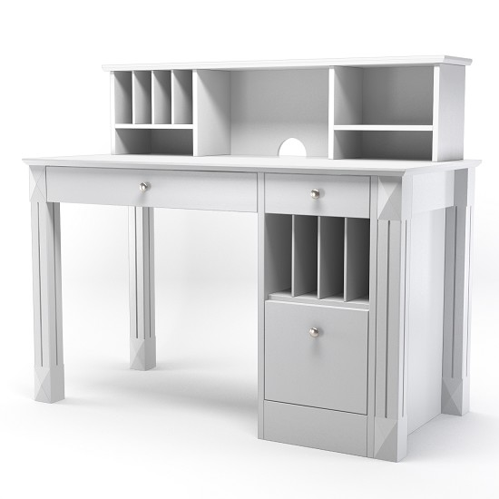 Emily Wood Desk and Hutch in White