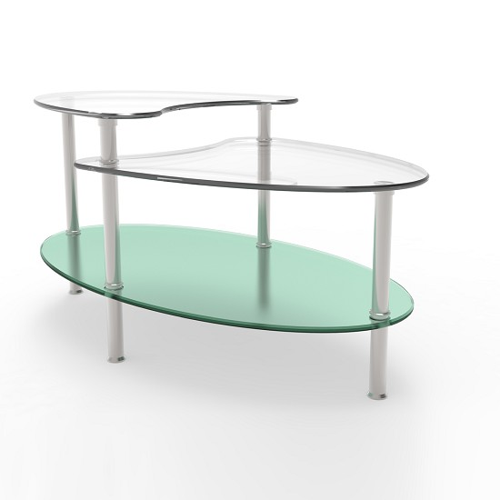 Glass Coffee Tables Gumtree Adelaide: Becca 38 Inch Oval Two Tier Glass Coffee Table