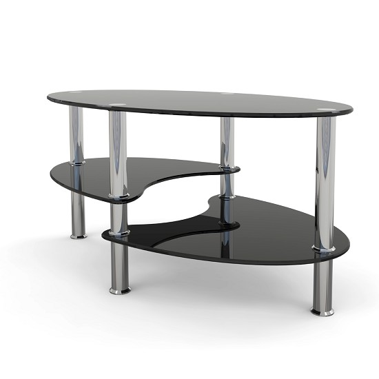 Glass Coffee Tables Gumtree: Elm 38 Inch Oval Two Tier Black Glass Coffee Table