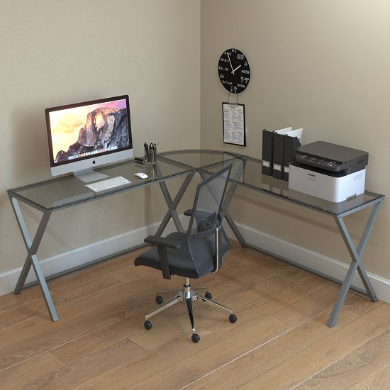 Keeling X Frame Computer Desk Silver Frame and Clear Glass
