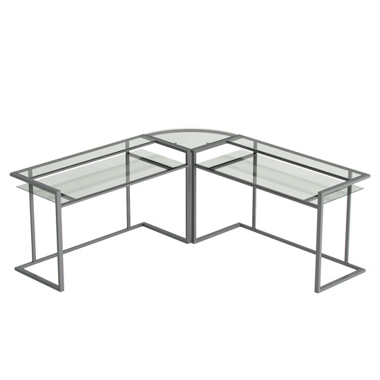 Belmac 3-Piece Corner C Frame L Shaped Computer Desk in Clear Glass and Silver Frame
