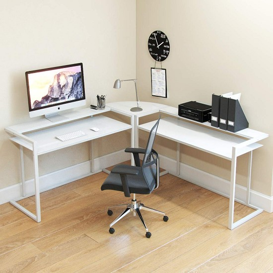 Belmac 3-Piece Corner C Frame L Shaped Computer Desk in White Glass and White Frame