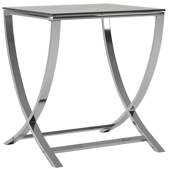 Vivien Glass Small Accent End Side Table Living Room Coffee Sofa Table Nightstand Chrome Finish