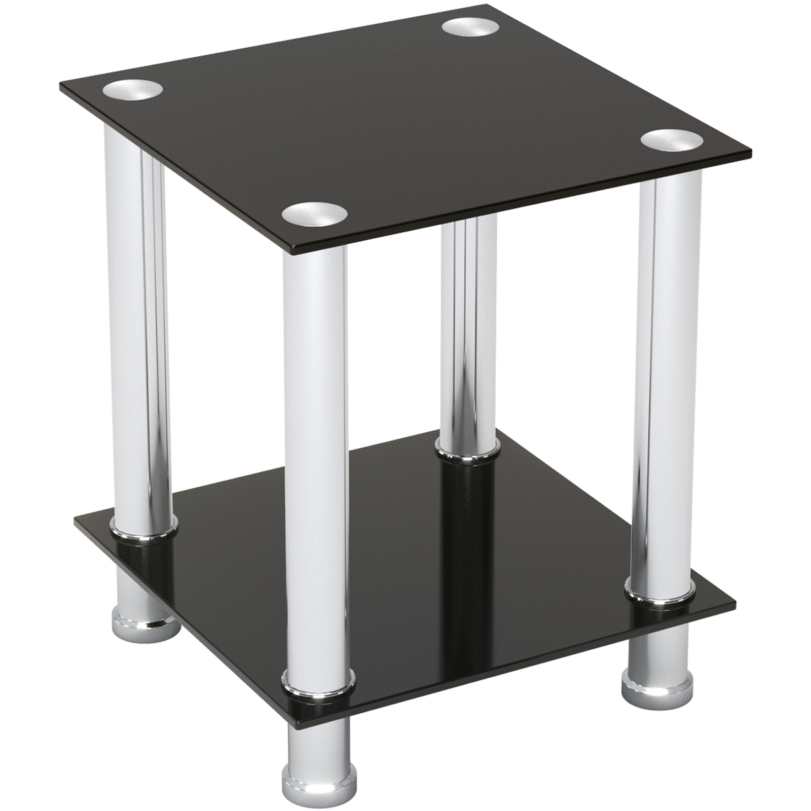Audrey End Table Sofa Table Night Table With Tempered Glass Shelves Chrome Frame Black Glass