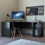 Kristen Corner L-Shaped Computer Desk in Black