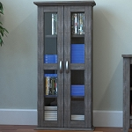 Kirkwell 41 Inch Wood DVD Media Storage Tower in Ash Grey