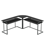 Belmac 3-Piece Corner C Frame L Shaped Computer Desk in Black Glass and Black Frame