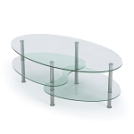 Ashley 38 Inch Oval Two Tier All Clear Glass Coffee Table